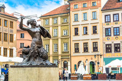 Warsaw, Poland – May 07, 2017: Sculpture of a mermaid in the old town in Warsaw. Mermaid is a symbol of Warsaw. Royalty Free Stock Photo