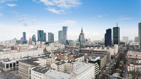 WARSAW, POLAND. Aerial drone view from above of city center skyline Stock Photos