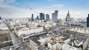 WARSAW, POLAND. Aerial drone view from above of city center skyline. WARSAW, POLAND - JANUARY 5, 2018. Aerial drone view from above of city center skyline stock image