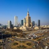 Warsaw, Poland. Aerial view center of the city. Palace of Culture and Science and business skyscrapers stock photography