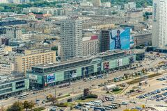 Warsaw / Poland - 09.15.2015: Aerial view on the main street in downtown. stock photo