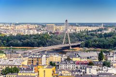 Warsaw / Poland - 09.02.2016: Aerial view on the modern architecture bridge royalty free stock photo