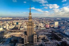 Warsaw / Poland - 02.16.2016: Aerial view of Palace of Culture and Science. royalty free stock photos