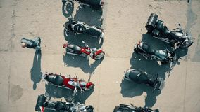 WARSAW, POLAND - APRIL, 1, 2017. Aerial shot of outdoor motorcycle show, top view Stock Photo