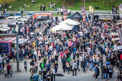 Food truck festival. Warsaw, Poland - April 1, 2017: Crowd of people during food festival in Warsaw Stock Photo