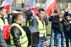 Farmers of the Agrounia union organised demonstration at the Artur Zawisza Square in the centre of Warsaw. Warsaw, Poland. 3 April 2019. Farmers of the Agrounia royalty free stock photo
