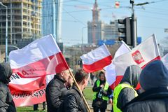 Farmers of the Agrounia union organised demonstration at the Artur Zawisza Square in the centre of Warsaw. Warsaw, Poland. 3 April 2019. Farmers of the Agrounia royalty free stock photos