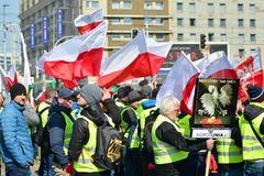 Farmers of the Agrounia union organised demonstration at the Artur Zawisza Square in the centre of Warsaw. Warsaw, Poland. 3 April 2019. Farmers of the Agrounia stock images