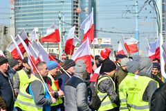 Farmers of the Agrounia union organised demonstration at the Artur Zawisza Square in the centre of Warsaw. Warsaw, Poland. 3 April 2019. Farmers of the Agrounia royalty free stock photography