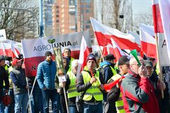 Farmers of the Agrounia union organised demonstration at the Artur Zawisza Square in the centre of Warsaw. royalty free stock image