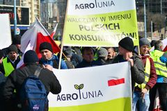Farmers of the Agrounia union organised demonstration at the Artur Zawisza Square in the centre of Warsaw. Warsaw, Poland. 3 April 2019. Farmers of the Agrounia royalty free stock images