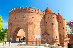 Historic Warsaw Barbican in the Warsaw Old Town. stock photos