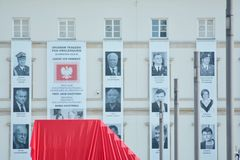 Just before  the ceremony of unveiling the monument the victims of a plane crash near Smolensk. Warsaw,Poland. 10 April 2018. Just before the ceremony of Royalty Free Stock Photography