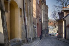 Late-Renaissance style burgher houses which were rebuilt after the Second World War and now form the UNESCO World Heritage Site Ol. WARSAW, POLAND - APRIL 28 Royalty Free Stock Images