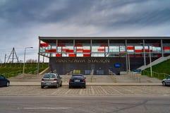 Warsaw, Poland - April 09, 2016:  Warszawa Stadion railway station, located in the district of Praga Poludnie. Warsaw, Poland - April 09, 2016:  Warszawa Stadion Stock Images