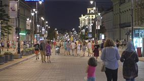 Warsaw, Poland - August 4, 2018. Crowded pedestrian street in city centre in the evening stock footage
