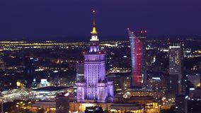 WARSAW, POLAND - AUGUST 26, 2017. Palace of Culture and Science evening aerial shot Royalty Free Stock Photo