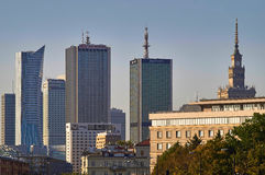 Warsaw, Poland - August 27, 2016: Panoramic view downtown on sunset, with Palace of Culture and Science, Polish: Palac Royalty Free Stock Photography