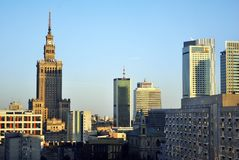 Warsaw,Poland. 8 August 2016. View of the modern skyscrapers in the city center.Warsaw skyline. Royalty Free Stock Photography