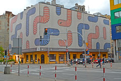 WARSAW POLAND. A banner with the abstract drawing on a building facade on Yagellonskaya Street Stock Photography