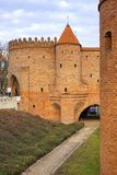 Warsaw, Poland - The Barbican - semicircular fortified XVI century outpost with the defense walls and fortifications of the stock images