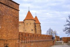 Warsaw, Poland - The Barbican - semicircular fortified XVI century outpost with the defense walls and fortifications of the stock image