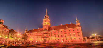 Warsaw, Poland: Castle Square and the Royal Castle, Zamek Krolewski w Warszawie. At night Royalty Free Stock Photos