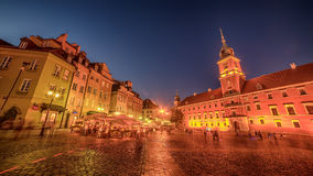 Warsaw, Poland: Castle Square and the Royal Castle, Zamek Krolewski w Warszawie. At night Royalty Free Stock Photography