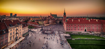 Warsaw, Poland: Castle Square and the Royal Castle, Zamek Krolewski w Warszawie. In the sunset of summer Royalty Free Stock Photos
