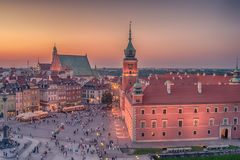Warsaw, Poland: Castle Square and the Royal Castle, Zamek Krolewski w Warszawie. In the sunset of summer Stock Image
