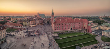 Warsaw, Poland: Castle Square and the Royal Castle, Zamek Krolewski w Warszawie. In the sunset of summer Royalty Free Stock Images
