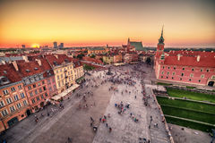 Warsaw, Poland: Castle Square and the Royal Castle, Zamek Krolewski w Warszawie. In the sunset of summer Royalty Free Stock Image