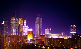 Warsaw Poland. City at night royalty free stock photo