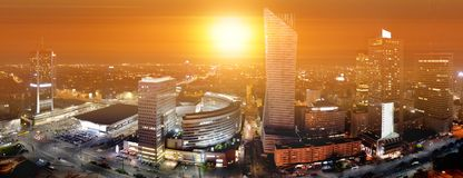 Warsaw, Poland - cityscape, sunset Royalty Free Stock Images