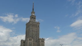 Warsaw, poland, culture science palace, stalin building, 4k stock video footage