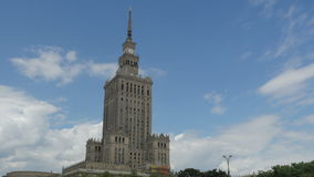 Warsaw, poland, culture science palace, stalin building, zoom in, 4k stock footage