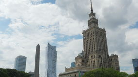 Warsaw, poland, culture science palace, stalin building, zoom out, 4k stock video footage