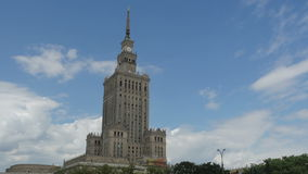 Warsaw, poland, culture science palace, stalin building, zoom out, 4k stock video