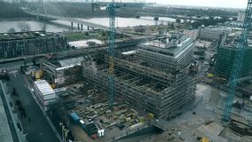 WARSAW, POLAND - DECEMBER 8, 2017. Aerial view of the city renovation construction site near the Vistula river. WARSAW, POLAND - DECEMBER 8, 2017. Aerial view of stock video footage