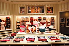 Interior of Victoria`s Secret store. Warsaw,Poland. 1 December 2017.Interior of Victoria`s Secret store. Victoria`s Secret is the largest American retailer of Royalty Free Stock Image
