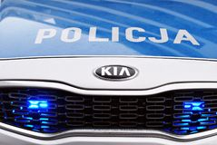 Kia Seed polish police car at the city street. Warsaw,Poland. 1 December 2017.  Kia Seed polish police car at the city street Stock Images