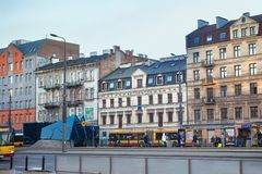 WARSAW, POLAND - DECEMBER 31, 2015: Old historical buildings in the Northern Praga district of Warsaw. Royalty Free Stock Photography