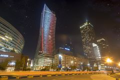 Warsaw, Poland-December 2016: Skyscrapers in the center of the P Royalty Free Stock Photos