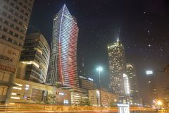 Warsaw, Poland-December 2016: Skyscrapers in the center of the P Royalty Free Stock Images