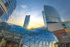 Warsaw, Poland-December 2016: Skyscrapers in the center of the P Royalty Free Stock Photo