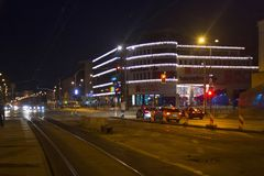 WARSAW, POLAND - DECEMBER 31, 2015: View to the shopping center Galeria Wilenska in the Northern Praga district at night. royalty free stock images