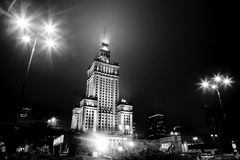 Warsaw, Poland downtown skyline at night. In black and white. The Palace of Culture and Science - Palac Kultury i Nauki royalty free stock images