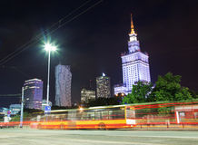 Warsaw, Poland downtown skyline at night Royalty Free Stock Photo