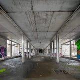 Warsaw, Poland, Europe, December 2018, abandoned building underneath Poniatowski Bridge royalty free stock photos