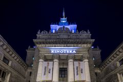 Warsaw, Poland, Europe, December 2018, Palace of Culture and Science cinema stock photos